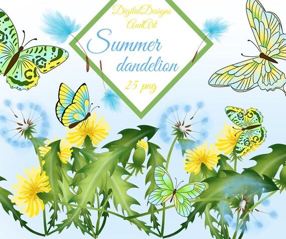 Dandelion Clipart Taraxacum Clipart Butterfly Illustration Etsy