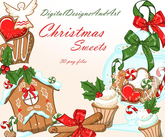 Christmas Cookies Gingerbread House Christmas Clipart Gingerbread Cookies Handpainted Clipart Winter Clipart Planner Sticker Supplies