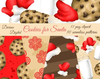 Santa paper, Santa cookies, Cookies clipart, Christmas pattern, Christmas clipart, commercial use, sublimation pattern, fabric design