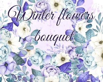 Winter flowers bouquets, Watercolor blue & purple flowers clipart, Floral illustration, Purple floral bouquets, Winter floral clipart