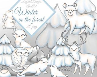 Winter animals clipart, Winter clipart, Winter tree, Snow tree, Polar bear, arctic animals, White fox, White bear, Seal clipart