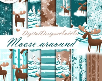 Moose digital paper, Moose pattern, winter seamless paper, tree paper, snowflakes paper, planner sticker paper, scrapbook pattern, handdrawn