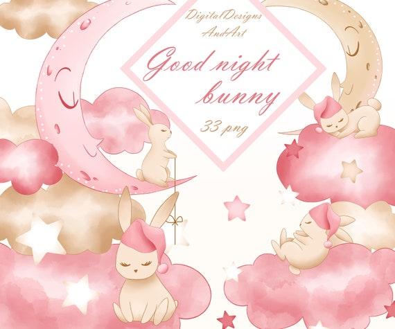 Bunny Clipart Moon Clipart Bunny Illustration Baby Girl Etsy