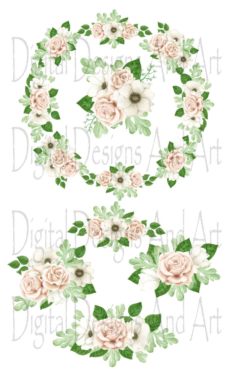 Anemone clipart Watercolor flowers Watercolor clipart Wedding bouquets clipart Wedding flowers clipart Roses clipart Floral wreath