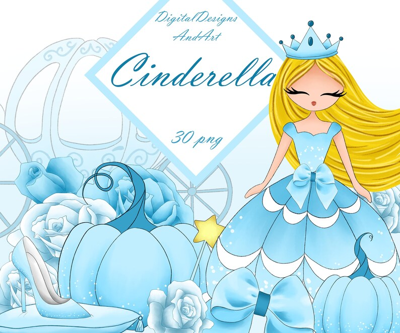 Cinderella clipart, fairy tale clipart, watercolor clipart, princess  clipart, pumpkin clipart, horse clipart, roses clipart, blue rose, shoe