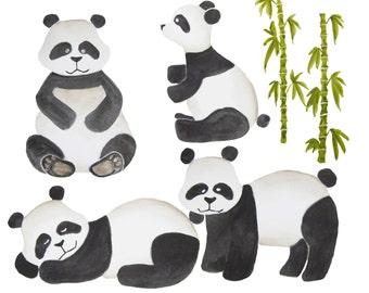 Watercolor panda clipart, Panda clipart, Panda clip art, Watercolor animal clipart, Panda illustration, Panda nursery art