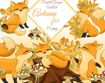 Fox clipart, Autumn clipart, Autumn leaves clipart, Fall clipart, Fall mushrooms, autumn forest, tod clipart