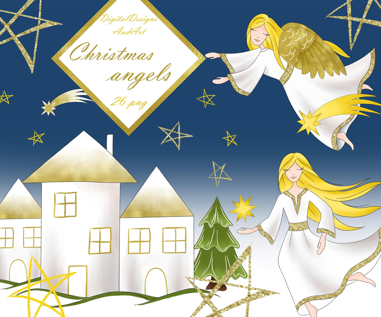 Engel Cliparts weihnachtscliparts Weihnachten Engel | Etsy