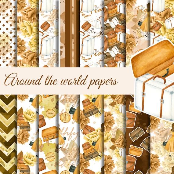 scrapbook paper Travel digital paper pack Flower digital paper Fashion paper seamless paper Around the world journey digital background