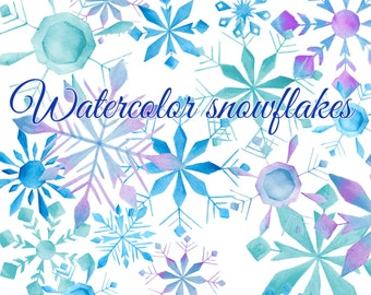 Snowflakes clipart, Winter clipart, Watercolor snowflake, Hand painted snowflake illustration, Watercolor winter clipart, Blue snowflake