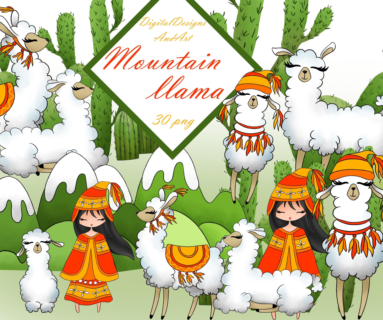 Llama clipart watercolor clipart Animal clipart Peru | Etsy