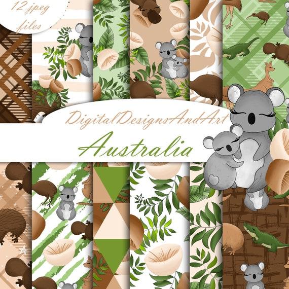 Australien digitales Papier Tiere Muster Koala | Etsy