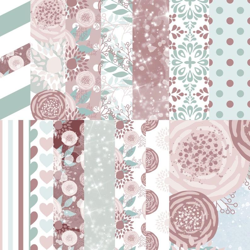 Flower digital paper Floral printable paper Pink gray floral | Etsy