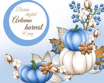 Pumpkin clipart, Pumpkin illustration, Autumn clipart, , Cotton clipart, Autumn pumpkins, Blue autumn, sublimation clipart