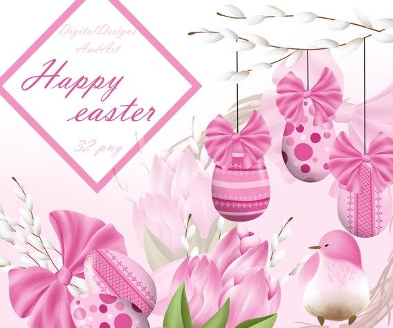 Easter eggs illustration Spring clipart Tulip clipart Spring flowers clipart bird clipart planner stickers clipart Easter clipart