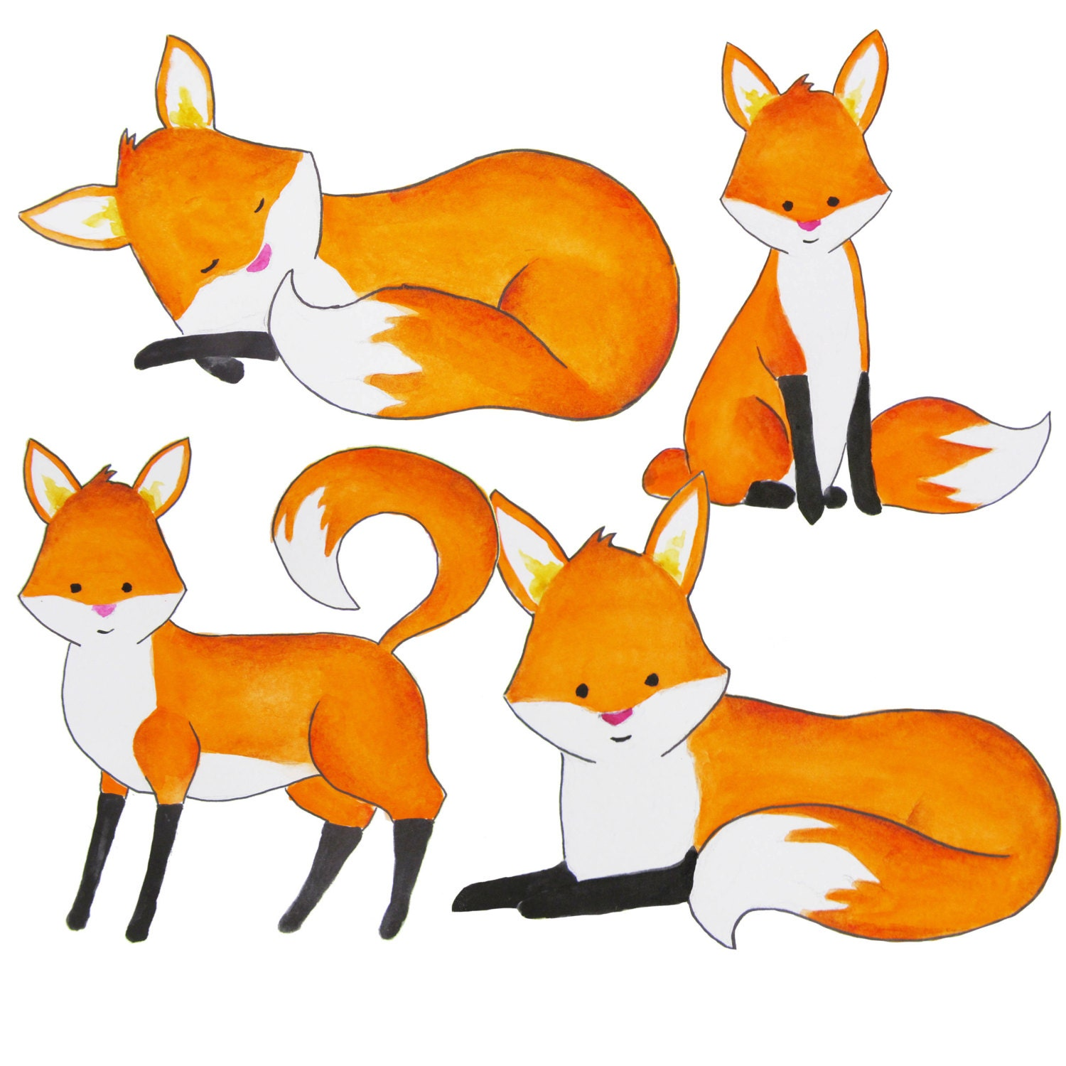 watercolor fox clipart foxes clipart red fox clip art etsy rh etsy com red fox clip art trace Arctic Fox Clip Art