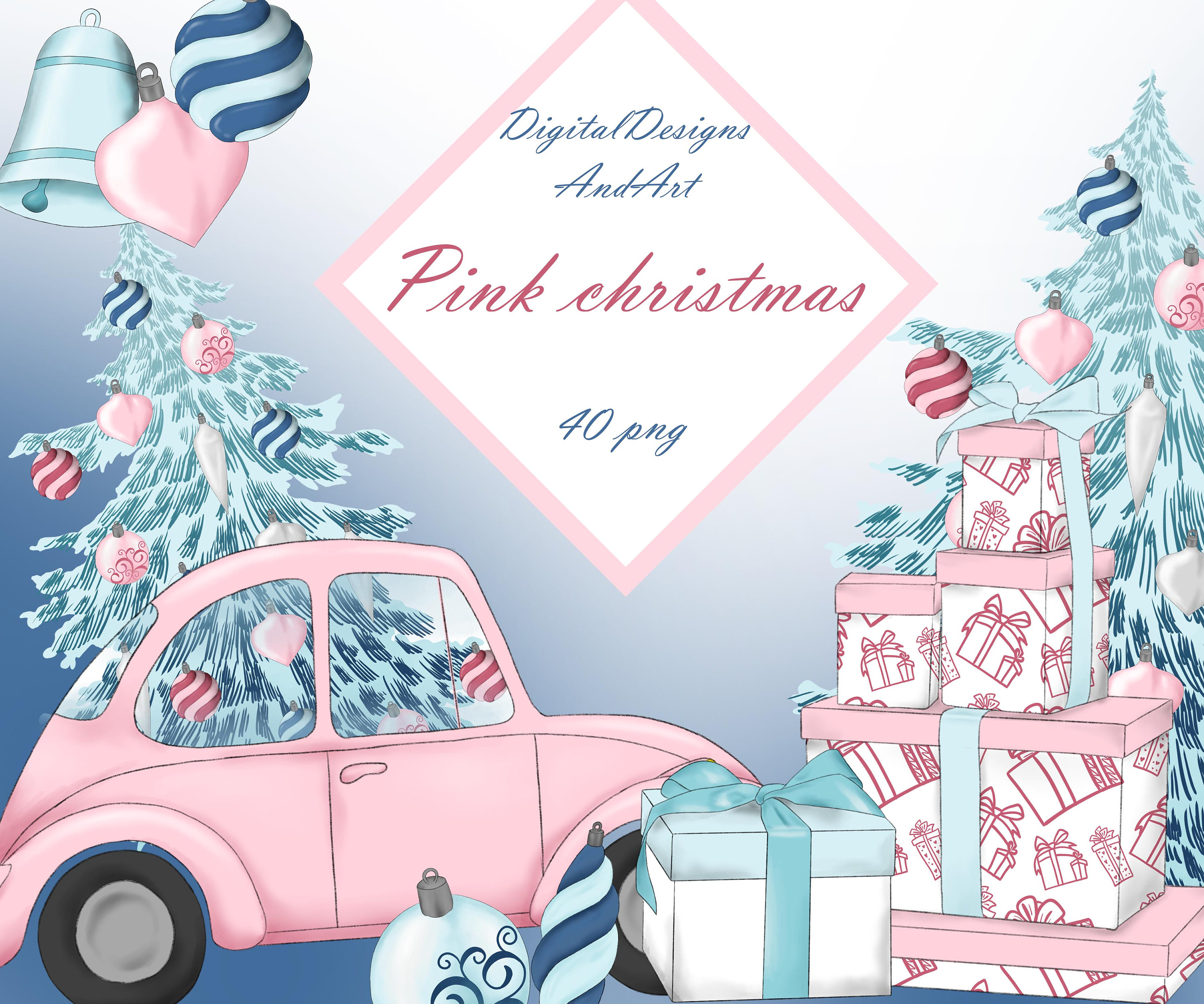 Pink christmas clipart Watercolor clipart Xmas clipart | Etsy