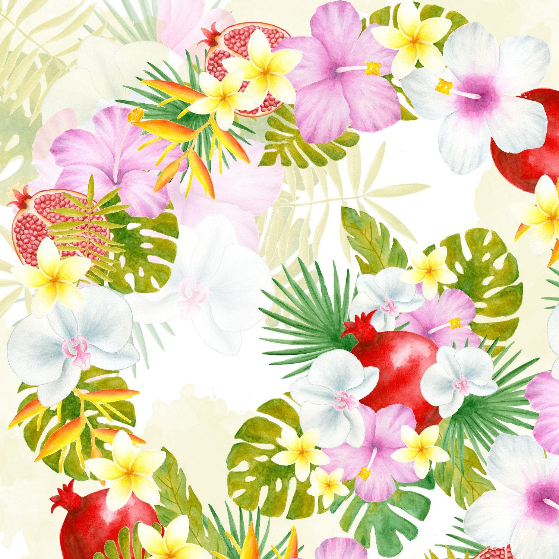 Tropical Flower Bouquet Watercolor Flowers Clipart Tropical Etsy