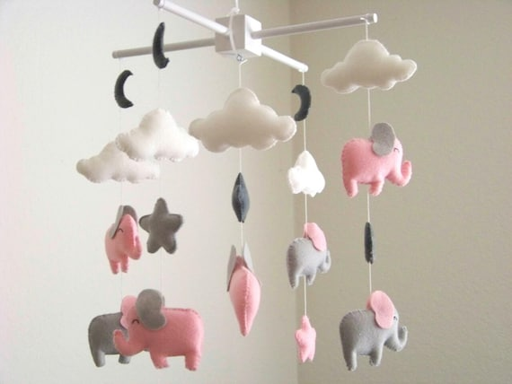 baby mobile elefant mobile babybett mobile kinderzimmer etsy. Black Bedroom Furniture Sets. Home Design Ideas
