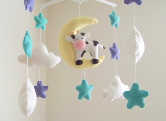 Cow Moon And Stars Baby Mobile Baby Mobile Star Baby Etsy