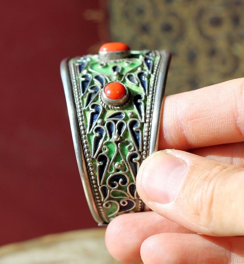 Vintage Tunisian Berber Sephardi Jewish Cloisonne Hot Enamel Jerba Bracelet