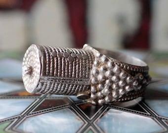 Rare Yemeni Silver Tribal Tower Ring  - Bedouin Jewelry - Size 9