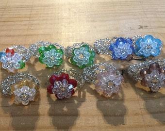 Beaded flower rings