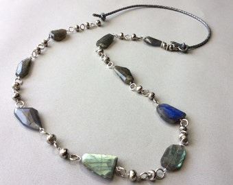 Faceted labradorite and pyrite linked necklace