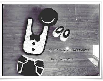Boys Tuxedo Set -  Baby Boy Clothes - Newborn Tux - Crochet Tux Outfit - Photo Prop Tux - Cute Boy Clothes - Baby Boy Gift