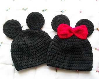 09a9302d Mickey & Minnie mouse hats, Newborn baby hats, Disney baby hats, Crochet  hats, Hats for twins, Mickey mouse, Minneie mouse