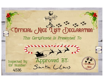 Personalised Nice List Certificate - North Pole Certificate - Santa's Certificate - Christmas Letter - Christmas Eve Box Certificate