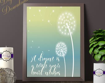Dandelion Dream Quote Print - Digital Download - A Dream Is A Wish The Heart Makes - Dandelion Quote - Dandelion Gift - Dandelion Wish Print
