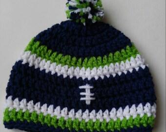 Crochet Seahawks Hat Etsy