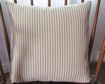 Ticking Stripe Beige & Ivory Pillow Cover