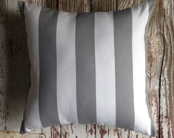 awning stripe pillow cover gray & white 16x16