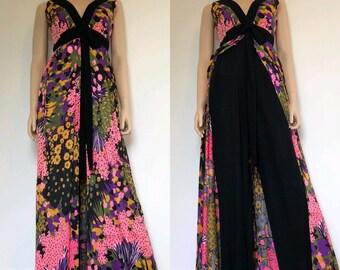 3f9b0bd3bc17 1960's Floral Hawaiian Jumpsuit / Dress, Size Small / Medium, Tiki Oasis,  Vintage Wide Leg Jumpsuit, 60's Palazzo Pants Jumpsuit