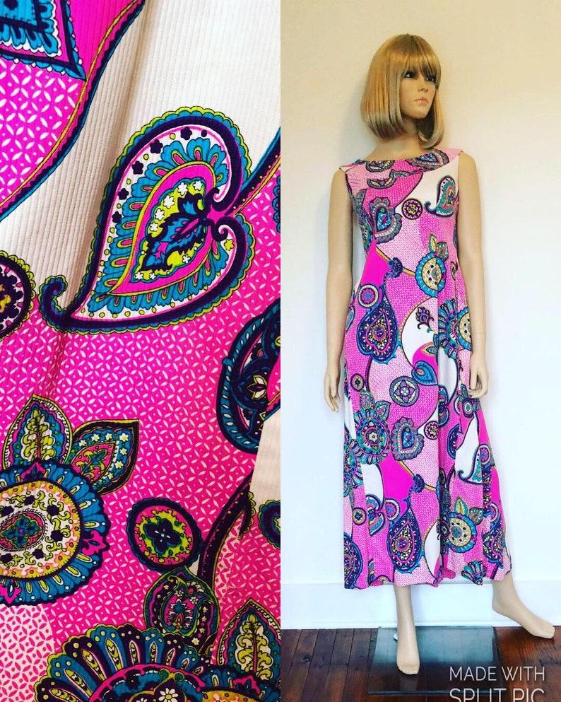Size Small  Medium 1960\u2019s Hawaiian Dress Tiki Oasis Dress Vintage Pink /& Purple Floral Maxi Dress Malihini Hawaii Designer\u2019s Collection