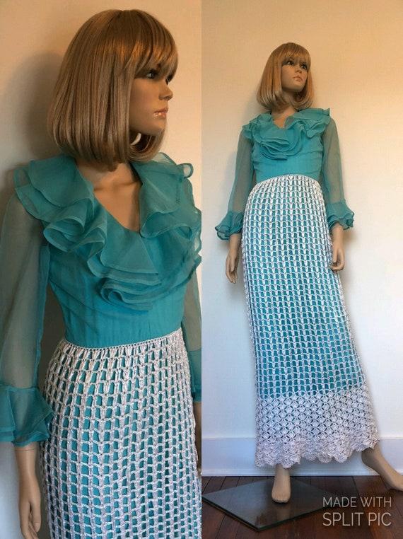 1960's Blue & White Raffia Maxi Dress By Jack Brya
