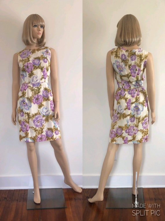 1950's Floral Sheath Dress, Size Small, Lavender,