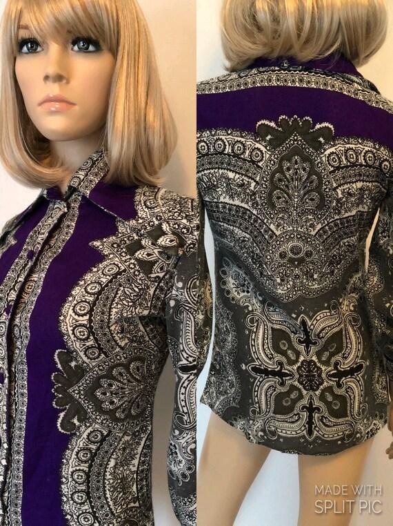 1970's Bohemian Shirt, Size Small, Vintage Boho Bl