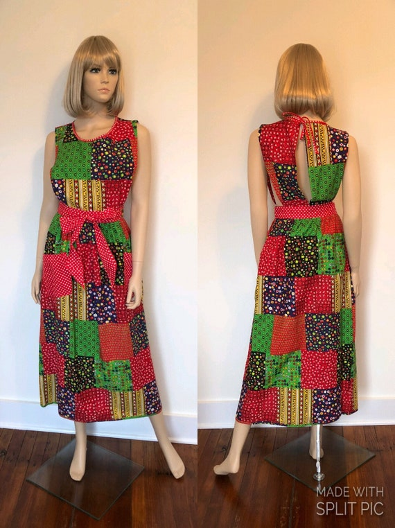 1970's Patchwork Apron Maxi Dress, Vintage Wrap Ap
