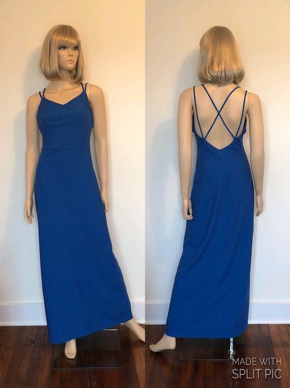 Vintage Royal Blue Floor Length Gown, Royal Blue S