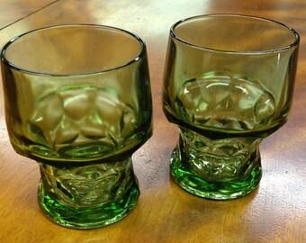 Vintage Green Anchor Hocking Glasses, Set Of 2, Vintage Barware