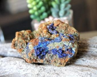 """2.75"""" Crystalized Azurite Malachite Copper Ore Specimen, Raw Stone, Wiccan Altar Supply, Rough Mineral Specimen, Reiki/Chakra/Pagan"""