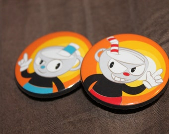 """Cuphead - 1.5 """" button Set of 2"""