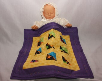 Quilt, Doll Blanket, colorful stitch pattern, flannel backing, small quilt, wall hanging
