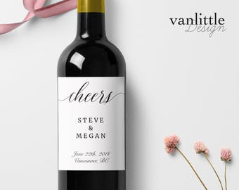 Custom Wedding Wine Labels, Personalized Wine Label, with Elegant Script Calligraphy, Wedding Wine Bottle Labels, Ship from the U.S., WL7