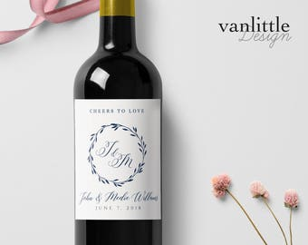 Custom Wedding Wine Labels, Personalized Wine Label, with Elegant Script Calligraphy, Wedding Wine Bottle Labels, Ship from the U.S., WL4