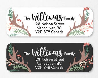 Personalized Holiday Return Address Labels, Custom Christmas Self-Adhesive Labels, Return Address Stickers, RAL33