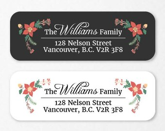 Personalized Holiday Return Address Labels, Custom Christmas Self-Adhesive Labels, Return Address Stickers, RAL32